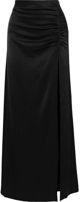 Alice + Olivia Diana Ruched Satin-crepe Maxi Skirt