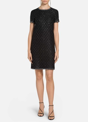 St. John Sequined Couture Basketweave Trapeze Dress