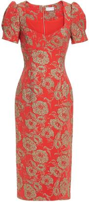 Rebecca Vallance Amaretto Metallic Brocade Midi Dress