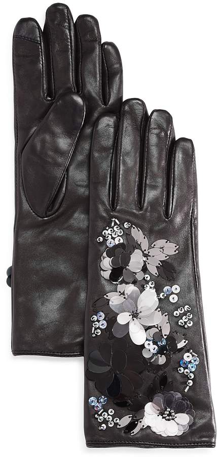 Echo Floral Cascade Leather Tech Gloves