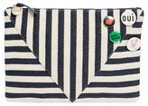 Clare Vivier Striped Clutch With Pins - Blue