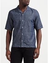 Denham Camp Linen-blend Shirt Clch, Indigo