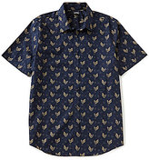 Murano Short-Sleeve Slim-Fit Point Collar Leaf Sportshirt
