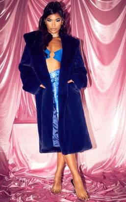 PrettyLittleThing Blue Longline Faux Fur Hooded Coat