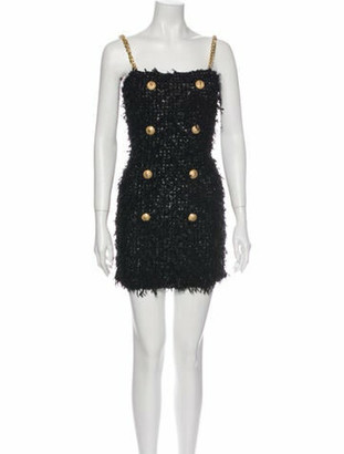 Balmain Square Neckline Mini Dress Black
