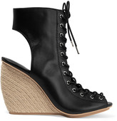 Rebecca Minkoff Elle lace-up leather espadrille wedge sandals