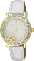 Laura Ashley Ladies White/Gold Floral Stone Bezel Watch La31013Yg
