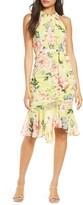 Eliza J Venetian Chiffon Halter Dress