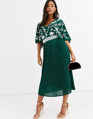 Frock and Frill monochrome embroidered upper midi dress-Green