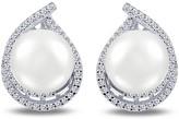Lafonn 11mm Genuine Freshwater Pearl & Micro Pave Simulated Diamond Earrings