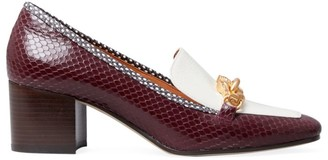 Tory Burch Jessa Snakeskin-Embossed Leather Loafer Pumps