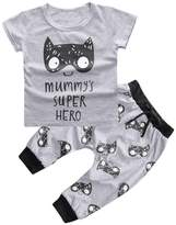 Tenworld 1 Set Newborn Baby Boys Girls Outfits Printed T-shirt Top+Pant