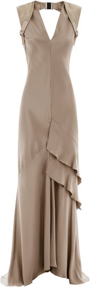 Max Mara AREZZO LONG DRESS 40 Beige, Grey Silk