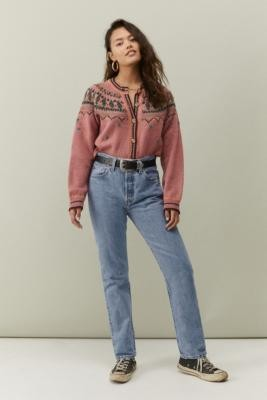 Levi's 501 High-Waisted Straight Leg Jeans - Blue 25W 30L at Urban Outfitters