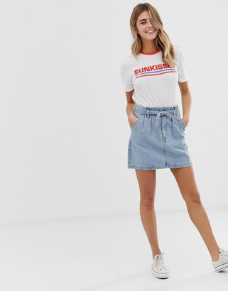 Hollister paperbag skirt in denim