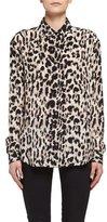 Saint Laurent Classic Leopard-Print Silk Shirt, Fauve/Beige/Brown