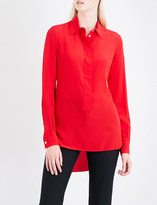 Victoria Beckham Logo-embroidered relaxed-fit silk-crepe shirt