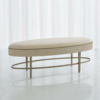 Global Views Ellipse Faux Leather Bench Upholstery: White, Color: Ivory