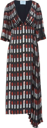 Prada lipstick print twill dress