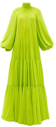 Valentino Balloon Sleeve Banded-chiffon Gown - Green