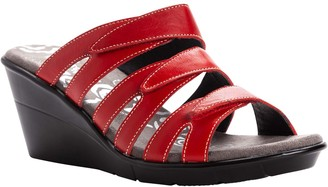 Propet Leather Slide Wedge Sandals - Lexie