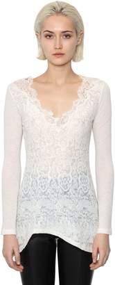 Ermanno Scervino Silk Lace & Alpaca Blend Knit Top