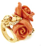 Christian Dior Pré Catelan 18K Yellow Gold Diamond & Coral Rose Ring