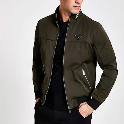 8b3616428 Dark green zip front racer jacket