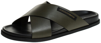 Dolce & Gabbana Olive Green Leather Cross Strap Sandals Size 44
