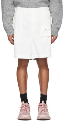 MONCLER GENIUS 2 Moncler 1952 White and Silver Over-The-Knee Bermuda Shorts