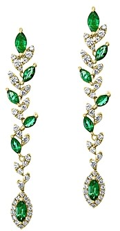 Bloomingdale's Marquise Emerald & Diamond Drop Earrings in 14K Yellow Gold - 100% Exclusive