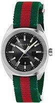Gucci Men's Swiss Quartz Stainless Steel and Nylon Dress Watch, Color:Green (Model: YA142305)