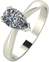 Moissanite 9 Carat White Gold, 1 Carat Pear Shaped Solitaire Ring