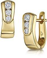 Theia 9ct Yellow Gold Highly Polished 0.30ct Diamond Hoop Earrings