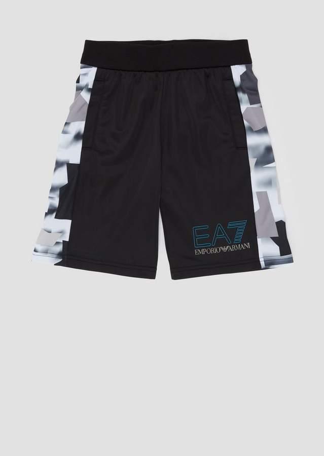 Emporio Armani Ea7 Boys Fleece Shorts With Patterned Bands