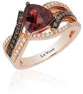 LeVian Chocolatier Pomegranate Garnet, Vanilla and Chocolate Diamond Ring