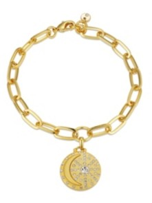 """Unwritten Gold Flash-Plated Link Bracelet with Crystal """"I Love You to the Moon & Back"""" Charm"""