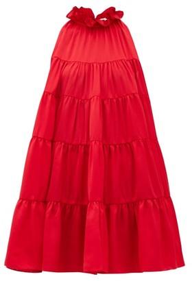 Rhode Resort Billy Tiered Satin Mini Dress - Womens - Red