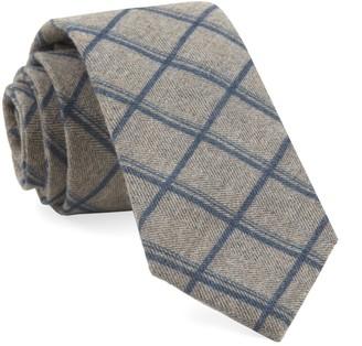 Tie Bar Brushed Cotton Jet Plaid Navy Tie