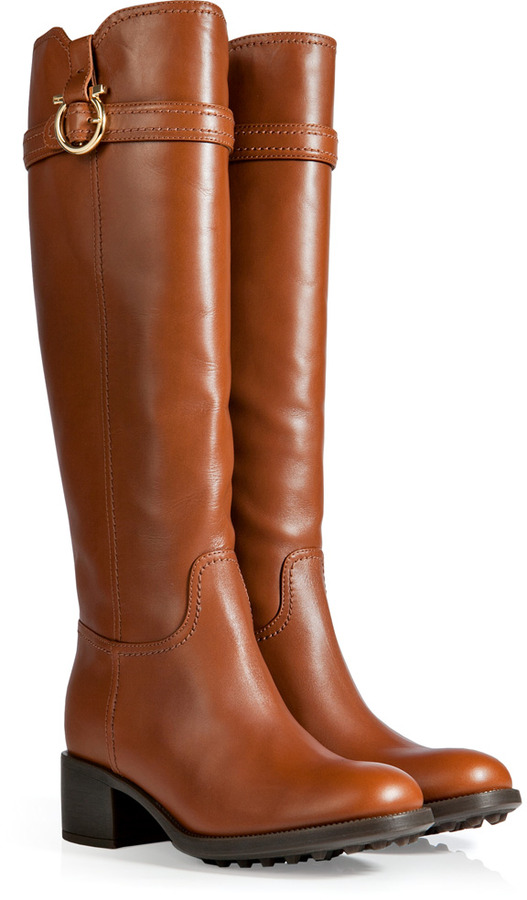 Salvatore Ferragamo Leather Robespierre Boots in Tan