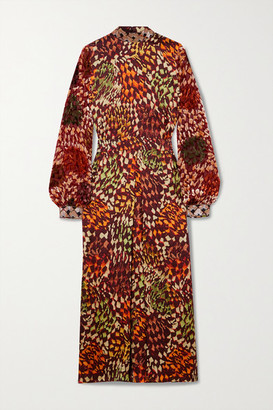 Dries Van Noten Bead-embellished Printed Satin And Flocked Chiffon Midi Dress - Orange