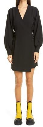 Ganni Bishop Sleeve Heavy Crepe Wrap Minidress