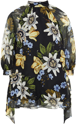 Erdem Nayla Floral-print Silk-voile Blouse