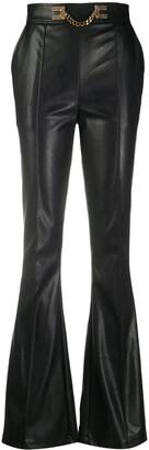 Elisabetta Franchi Flared Embellished Chain Trousers