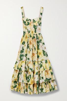 Dolce & Gabbana Tiered Floral-print Cotton-poplin Midi Dress - Yellow