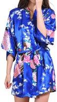 Geval Women's Printed Kimono Robe Satin Pajamas Short Nightgown(,S)