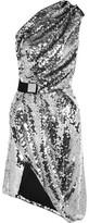 Carven One-Shoulder Sequined Mesh Dress