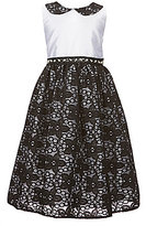 Jayne Copeland Little Girls 2T-6X Peter Pan Collar Lace Overlay Dress