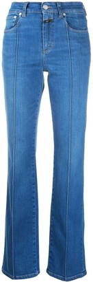 Closed Exposed-Stitch High-Rise Flared Jeans