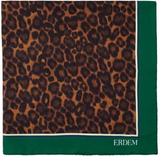 Erdem Green Silk Leopard Small Rose Wallpaper Scarf